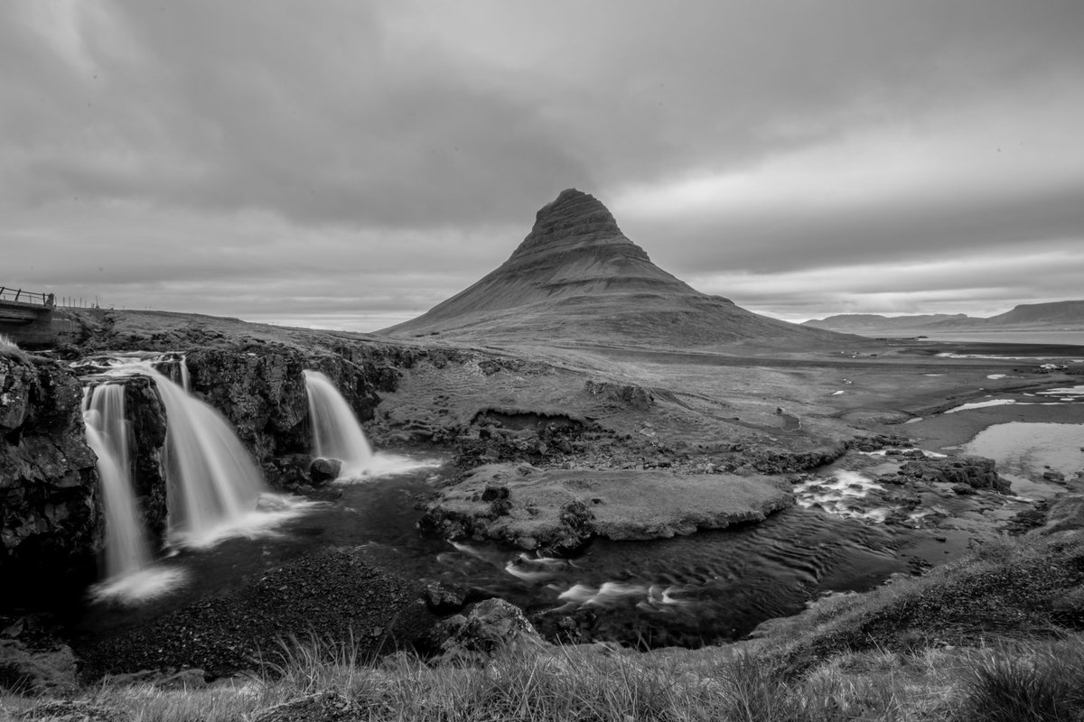One to tick off the bucket list. Kirkjufell in Iceland. Shame about the weather, bit grey and overcast, but works quite nicely in black and white. #kirkjufell #iceland #bucketlist #birthday #extremeiceland @extremeiceland
