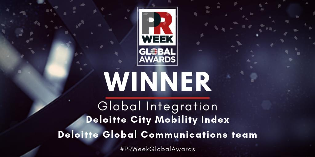 Deloitte City Mobility Index by @Deloitte takes home the trophy in the Global Integration category at #PRWeekGlobalAwards @PRWeekUS @prweekuknews