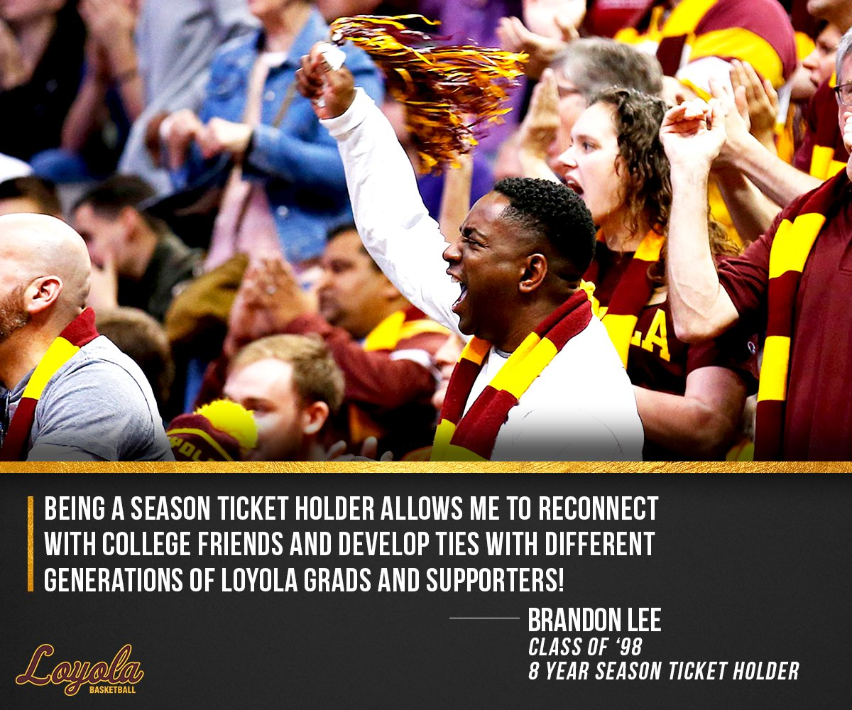 Join Brandon in the #Loyola Basketball family with 2019-20 season tickets! Place a deposit now to reserve your spot in line for seat selection in July:   https://bit.ly/2K2qocJ   #OnwardLU