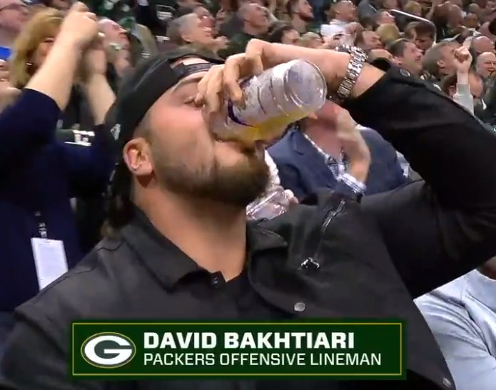 """Could we see a chug-off at the next @Bucks home playoff game between @AaronRodgers12 and @DavidBakhtiari? This from QB1:   """"Dave's kind of a punk because he lied to me when he said he wasn't going to chug beers. I'll be ready next time."""""""