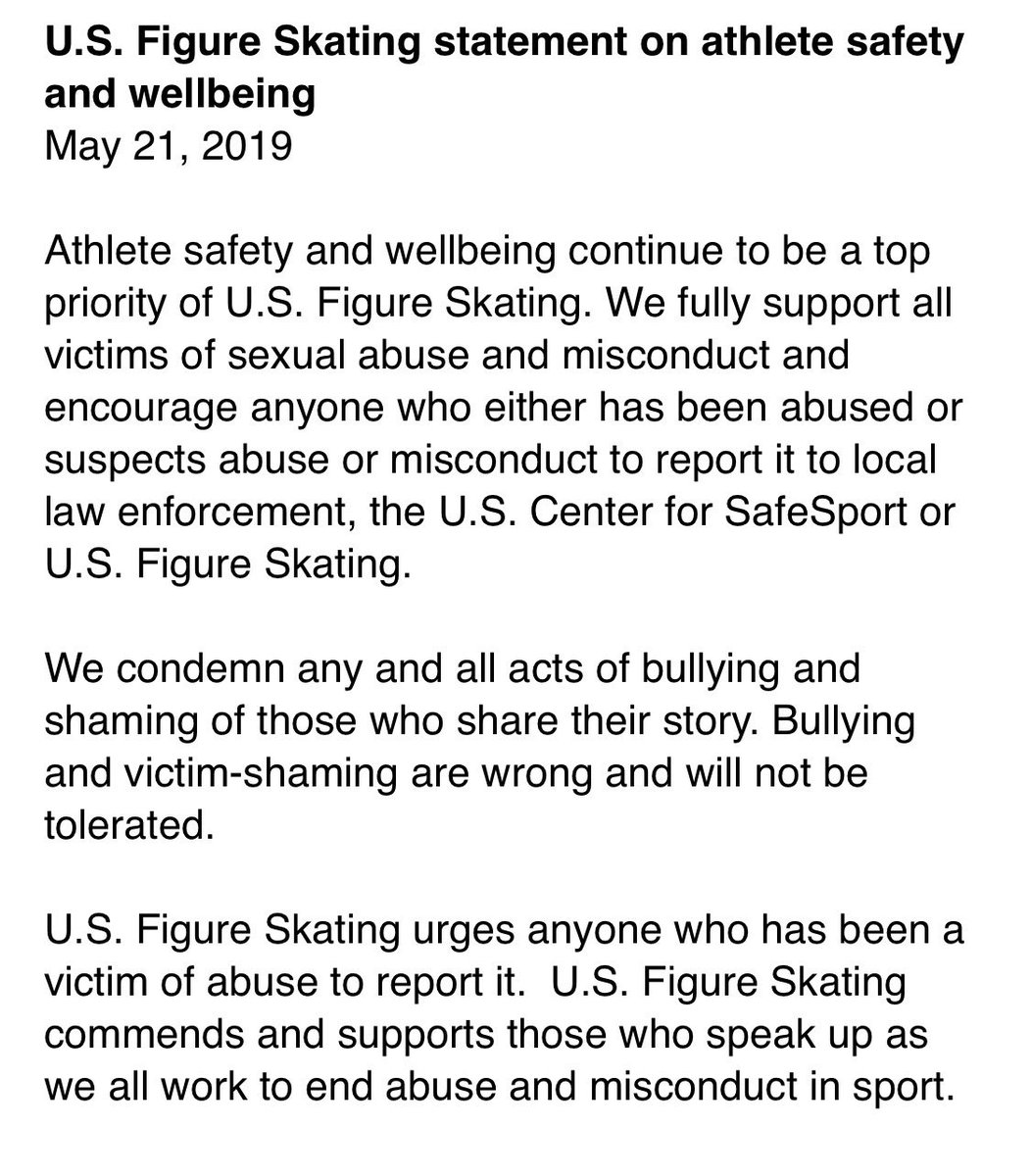 U.S. Figure Skating is just out with a statement of full support for victims of sexual abuse but with no mention of Bridget Namiotka, who bravely went public on Facebook to say the late John Coughlin sexually abused her for two years. <br>http://pic.twitter.com/9OQIlYOl6e
