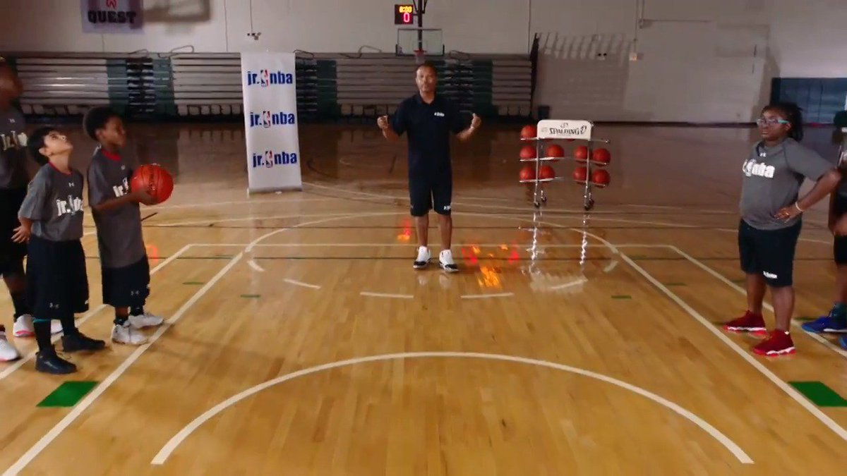 """Jr. NBA Coach Rick Lewis demonstrates the """"Pass and Follow"""" drill. A good way to get the athletes warmed up and the energy high to begin a practice! #TeachingTuesday  To practice passing: https://on.nba.com/2OFvESs"""