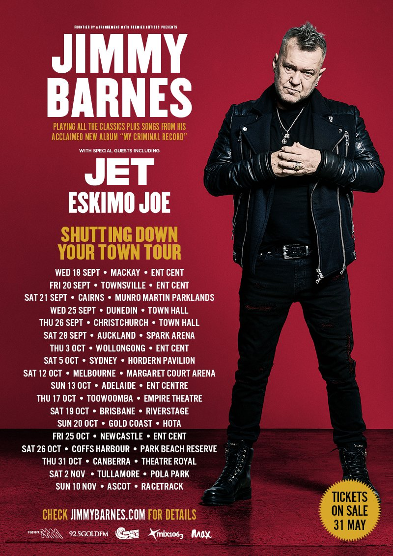"""jimmy barnes on twitter \""""i\u0027m heading back on tour across australiatickets on sale 9 00am local times, on friday, 31 may for all locations, dates and venues head to s www jimmybarnes com pic twitter com lucbgdoftf"""