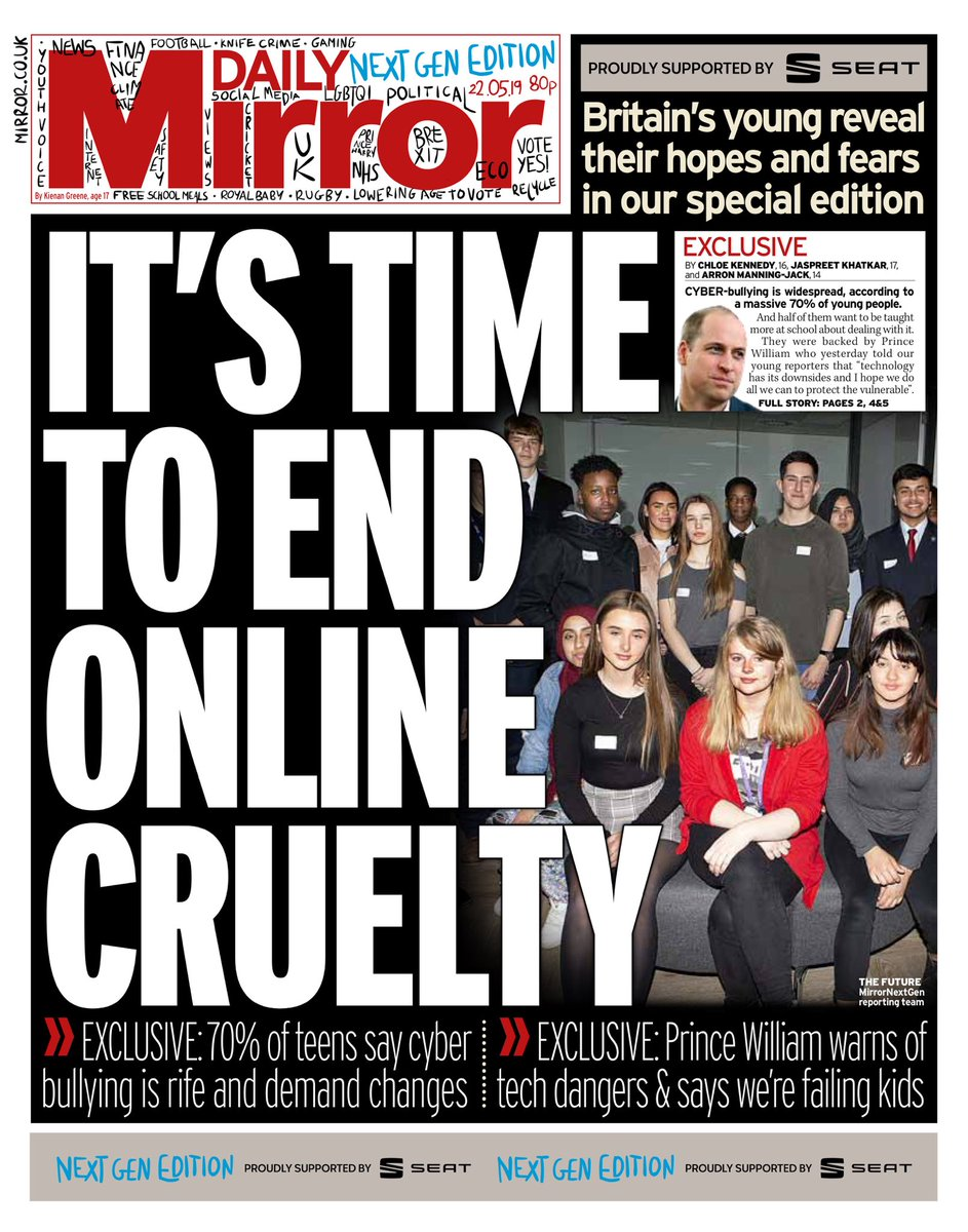 """Wednesday's Mirror: """"It's time to end online cruelty"""" (@AllieHBNews) #bbcpapers #tomorrowspaperstoday"""