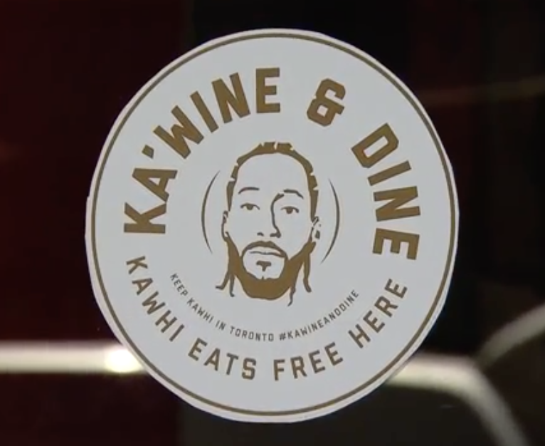Raptors Republic created a sticker for local restaruants to display to keep Kawhi this summer. The catch: If Leonard re-signs, he eats free for life
