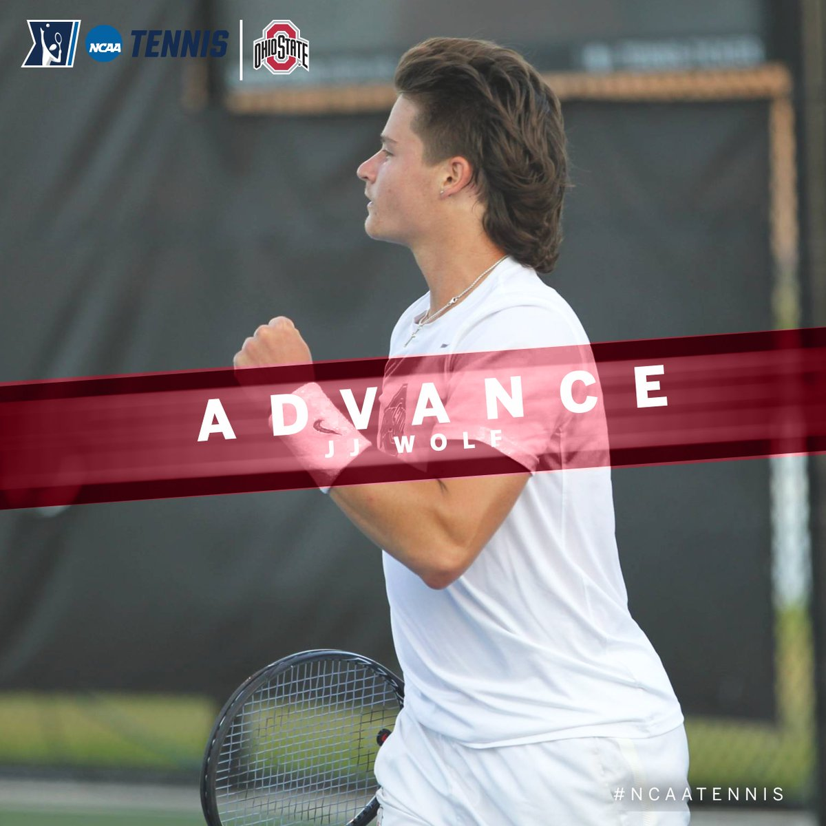 Wrapping up #B1GMTennis action at the @NCAATennis Singles Championship tonight, #2 seed JJ Wolf of @OhioStateMTEN defeated Matej Vocel of Oklahoma State, 4-6, 6-2, 7-5 to move to the Round of 16.