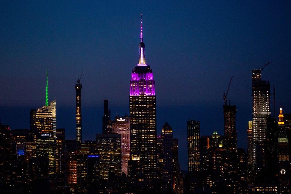We loved turning the @empirestatebldg purple tonight for our fans #BTSARMY. We love you! #BTSxNYC #EmpireStateBuilding<br>http://pic.twitter.com/yJFFHBfhoQ