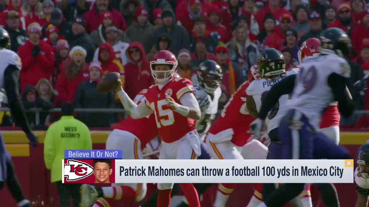 Can @PatrickMahomes throw a football 100 yards? Annnnd discuss 👇