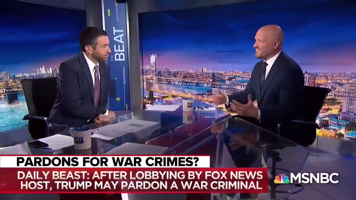 """""""I'm having a discussion with you on television, trying to explain to the president why pardoning war criminals is a bad idea""""  """"This a new low for us... it's a disrespect to our military"""" - @PaulRieckhoff"""