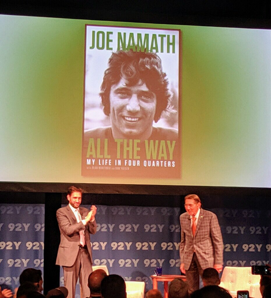 What a wonderful evening on stage with my idol @RealJoeNamath. Lots of laughs and real, honest emotional insight into the ups and downs of his legendary life and career. The event was recorded and you can watch it at @92Y.