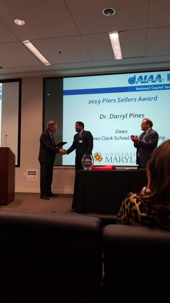 Also very proud of Dean pines for receiving at @AIAA_NCS Piers Sellers Award. @UMDAero @ClarkSchool