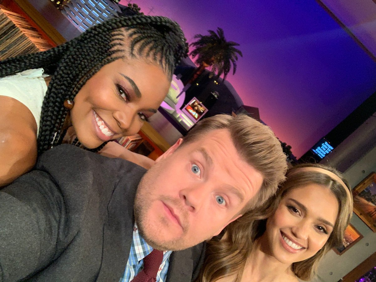A truly delightful #LateLateShow coming your way tonight with @jessicaalba @itsgabrielleu and comedian @joshgondelman!
