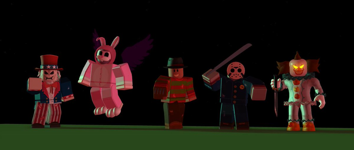 Killer Clown Roblox Foursci Pa Twitter Finished A Commission Iconic Horror Characters And Some Others Like A Killer Clown Uncle Sam And A Bunny I Will Link The Game Once I M Allowed To If