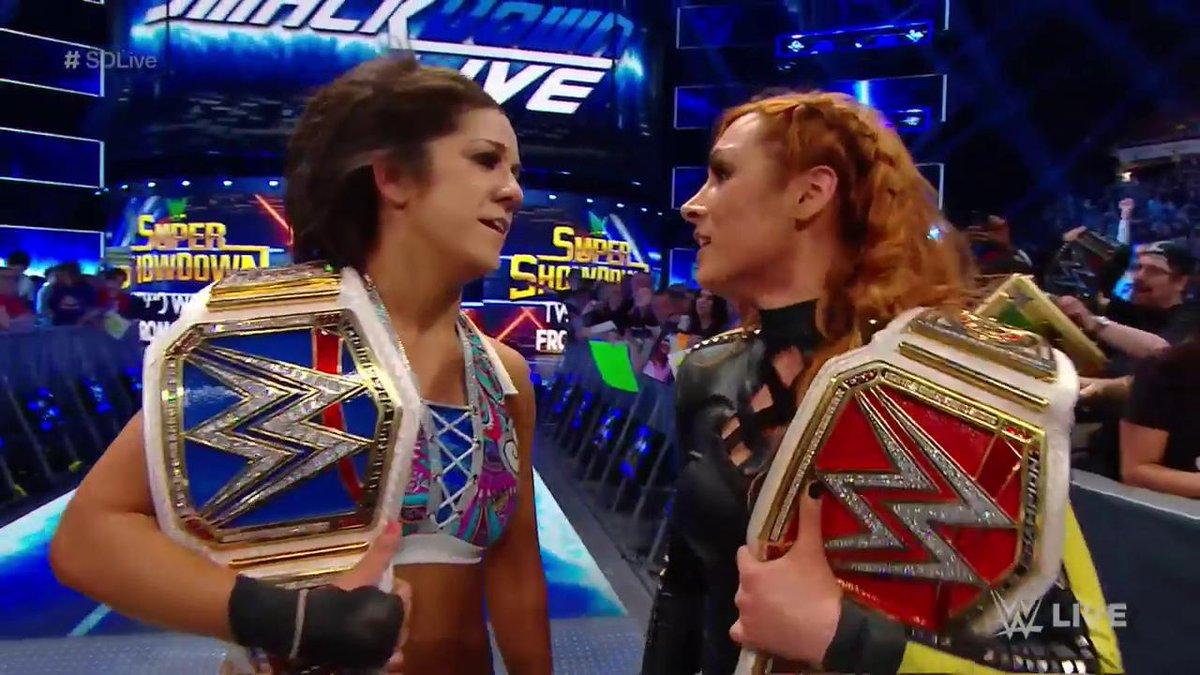 Champ vs. Champ? #SDLive @BeckyLynchWWE @itsBayleyWWE