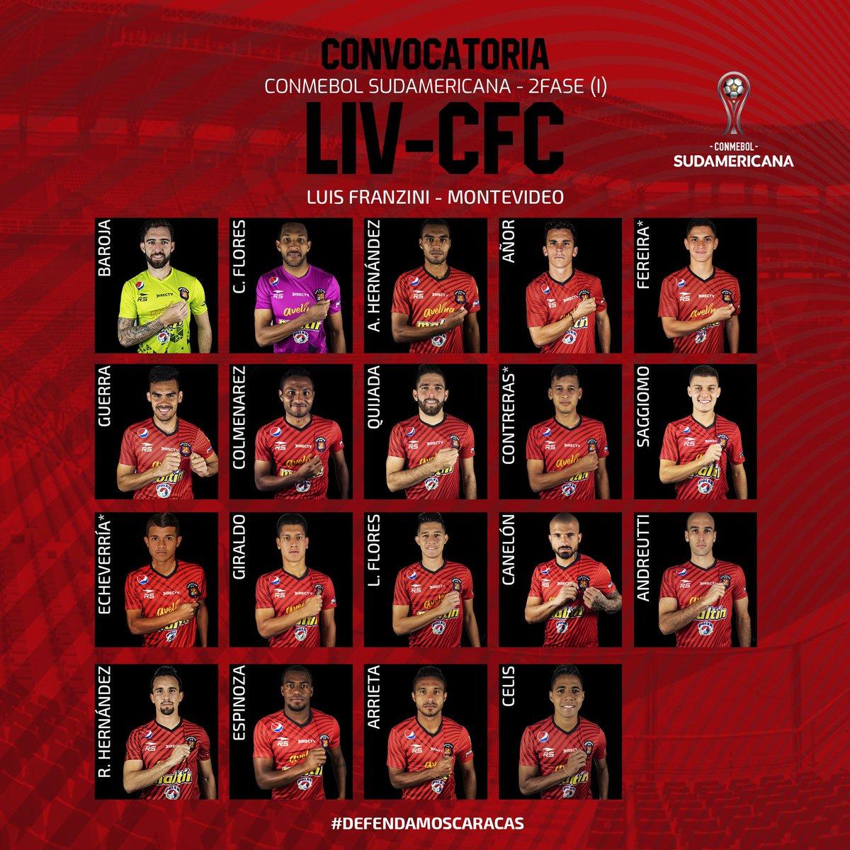 #Sudamericana | ¡Estos son los jugadores convocados por Noel Sanvicente para enfrentar mañana a @LiverpoolFC1915 por la ida de la Segunda Fase! #SomosCaracas