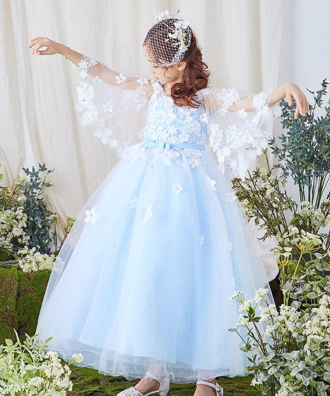 ac3c8e9f0e1f3 袖コンシャスの優雅なロングドレス。 キレイなライトブルーにホワイトのフラワーモチーフが際立ちます。 ☆送料無料☆ 詳しくはこちらをご覧ください。