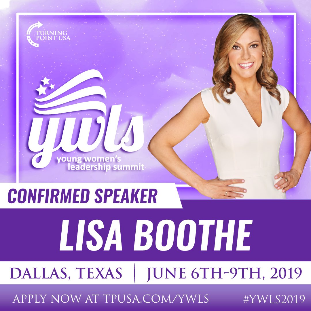 SPEAKER ANNOUNCEMENT! Fox News Contributor @LisaMarieBooth Has Just Been Added To Our AMAZING Line-Up Of Speakers For #YWLS2019 ! We CANT WAIT To See You There! APPLY ➡️ TPUSA.com/YWLS