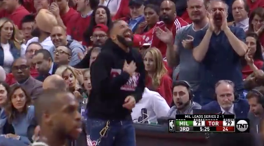 Drake stays clowning Giannis at the free throw line 💀