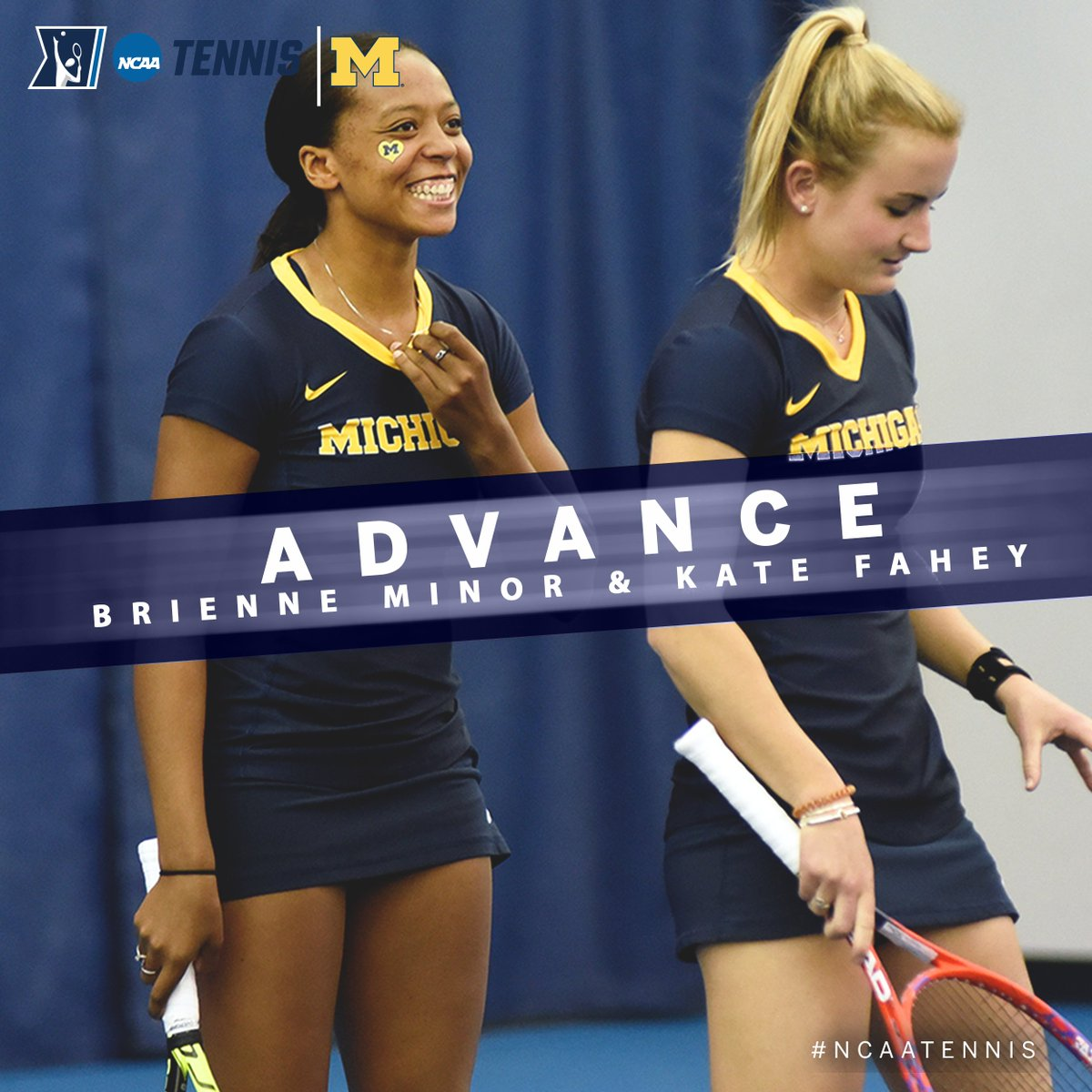 In the First Round of the @NCAATennis Women's Doubles Championship, Kate Fahey & Brienne Minor of @UMichWTennis advanced to the Second Round with a 6-1, 6-2 win over a pair from Virginia. #B1GWTennis