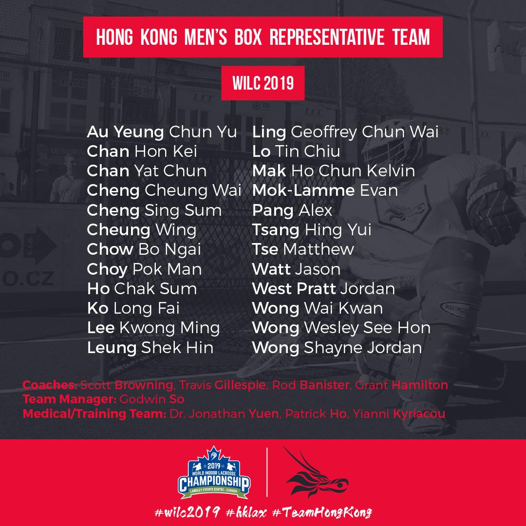 Hong Kong Lacrosse Association @hklacrosse has announced their roster for the World Indoor Lacrosse Championships 2019 @WILC2019, September 19-28 in Langley, BC, Canada. #hklacrosse #wilc2019