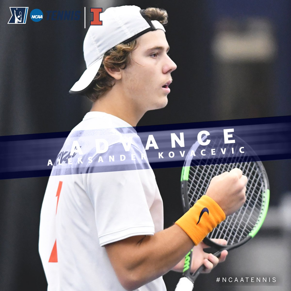 #7 seed Aleksander Kovacevic of @IlliniMTennis defeated Ewan Moore, of Tulane, 6-3, 7-5, to advance to the Round of 16 in the @NCAATennis Singles Championship. #B1GMTennis