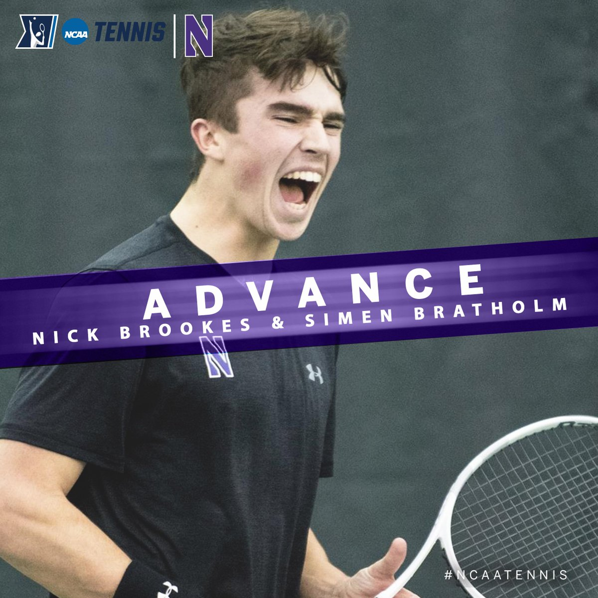 In the @NCAATennis Doubles Championship, Simen Bratholm and Nick Brookes of @NUMensTennis defeated #5-8 seed Harrison Scott and Christian Sigsgaard of Texas, 7-5, 2-6, 10-8 to move to the Second Round #B1GMTennis