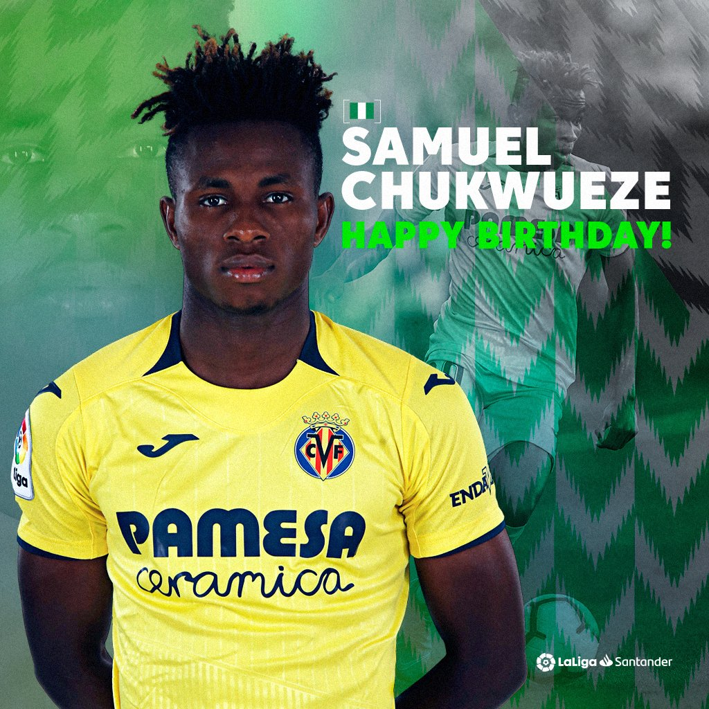 We dey wish @Eng_Villarreal Starboy @chukwueze_8 happy birthday as him turn 20 today. 💛🇳🇬    Happy birthday Samu! 🎂