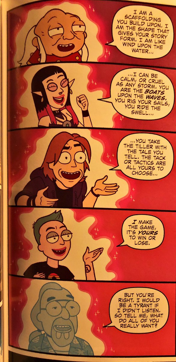 This panel in Rick and Morty vs #dungeonsanddragons got me a little misty. Well played @JimZub @PatrickRothfuss<br>http://pic.twitter.com/uNLWIAo65L