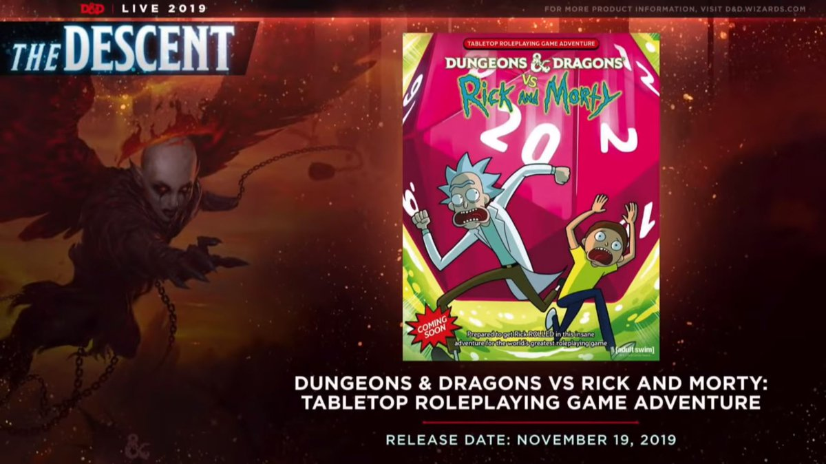 this got announced at #DnDlive2019..... my next lead role..... is the DUNGEONS & DRAGONS VS. RICK & MORTY BOXED SET! it comes out this fall and it is absolutely fucking bonkers  thanks to my co-writers for preserving my sanity: @JimZub @winnemall @adamofadventure @RyanHartmanWins <br>http://pic.twitter.com/Jm73XcYJga