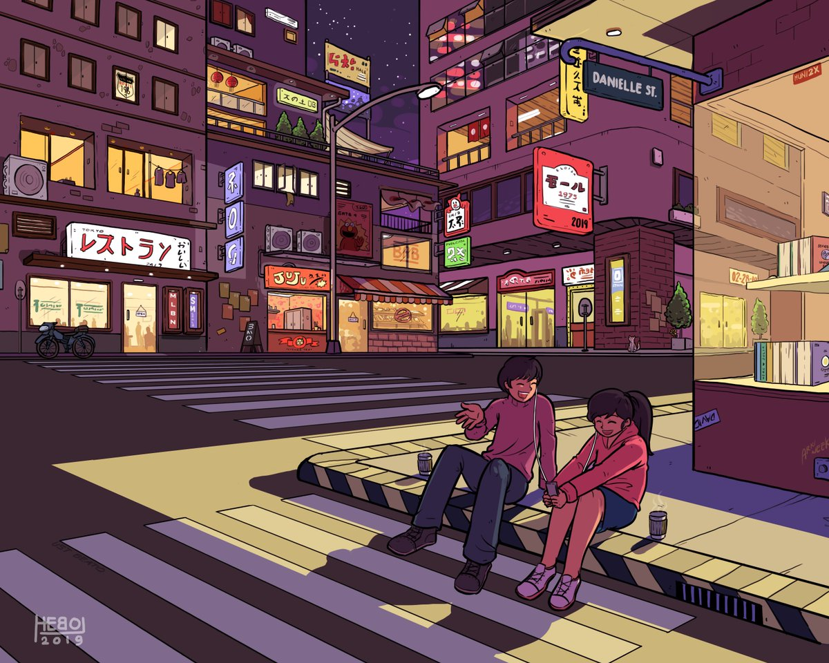 So I haven&#39;t posted anything in a long while... but here ya go. I made a Japanese city inspired art. And I know ang landi but I added easter eggs for my crush to look for in this one. Okie. yun lang naman. HAPPY WEDNESDAY! =)) <br>http://pic.twitter.com/YRP32UVL1A