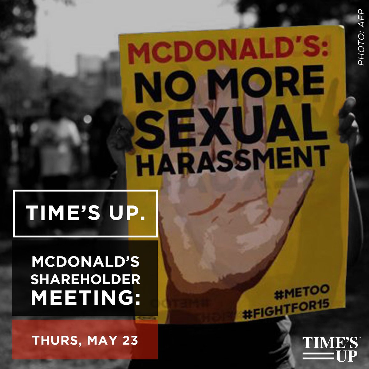 #TIMESUP, @McDonaldsCorp! It's time for you to take action to protect your 1.9 million employees from sexual harassment and retaliation at @McDonalds restaurants. Add your name: bit.ly/2M7rtB0