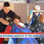 Image for the Tweet beginning: #compassionateSA SA barber gives free