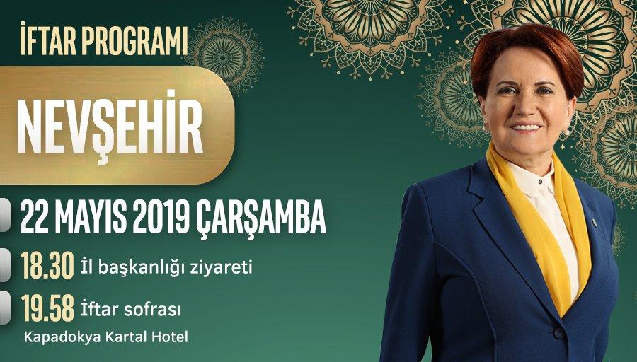 Bugün saat 18.30'da Nevşehir İl Başkanlığımızı ziyaretimizin ardından, Kapadokya Kartal Hotel'de iftar programımız vardır.  Nevşehirli hemşehrilerimizi iftar soframıza bekliyoruz.