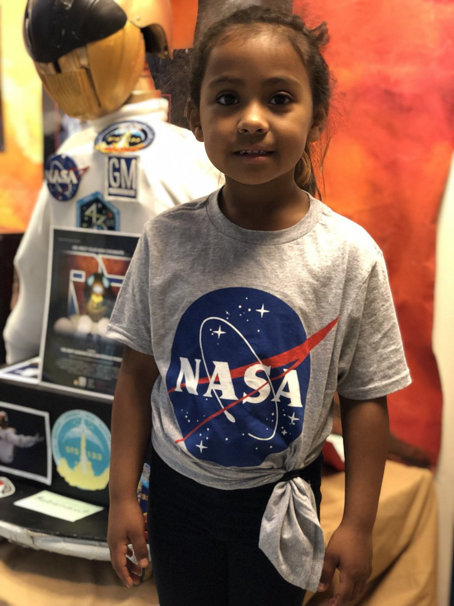 Kindergarten student so excited to show me NASA shirt her mom bought at Target! <a target='_blank' href='http://search.twitter.com/search?q=NASAStyle'><a target='_blank' href='https://twitter.com/hashtag/NASAStyle?src=hash'>#NASAStyle</a></a> <a target='_blank' href='http://search.twitter.com/search?q=tshirt'><a target='_blank' href='https://twitter.com/hashtag/tshirt?src=hash'>#tshirt</a></a> <a target='_blank' href='http://search.twitter.com/search?q=NASAedu'><a target='_blank' href='https://twitter.com/hashtag/NASAedu?src=hash'>#NASAedu</a></a> <a target='_blank' href='http://twitter.com/NASAedu'>@NASAedu</a> <a target='_blank' href='http://twitter.com/NASApeople'>@NASApeople</a> Future engineer, scientist, astronaut <a target='_blank' href='http://search.twitter.com/search?q=GirlsInSTEM'><a target='_blank' href='https://twitter.com/hashtag/GirlsInSTEM?src=hash'>#GirlsInSTEM</a></a> <a target='_blank' href='http://search.twitter.com/search?q=KWBPride'><a target='_blank' href='https://twitter.com/hashtag/KWBPride?src=hash'>#KWBPride</a></a> <a target='_blank' href='https://t.co/Q1VqtKPIkb'>https://t.co/Q1VqtKPIkb</a>