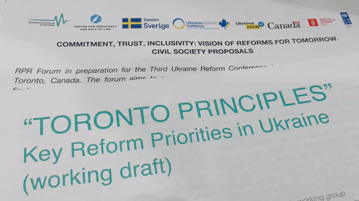 On the way to #UkraineReformConference in 🇨🇦 Toronto: 🇺🇦 civil society presenting draft of reform principles, setting out priorities for the next few years in #Ukraine. Defending the achievements, reflecting on next steps, based on discussions in Kharkiv, Odesa, Lviv