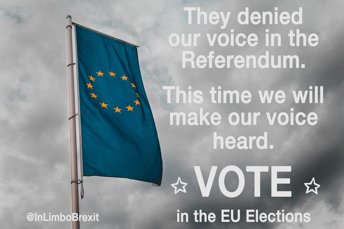 We had no voice in the 2016 referendum and have been #InLimbo ever since. We were talked about and decided for without a say in our own future.  Please make your voice heard at the #EUelections2019 for our future in Europe.  Let us know if you had any trouble registering to vote.