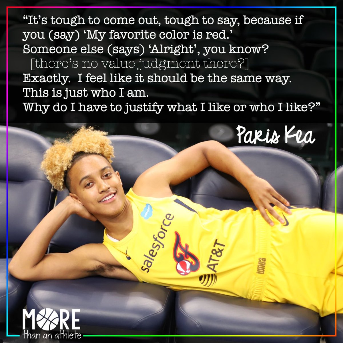 More wisdom from @TheReal_41 on coming out. 🏳️🌈 . #wnba #indianafever #fever20 #allforlove #pride🌈