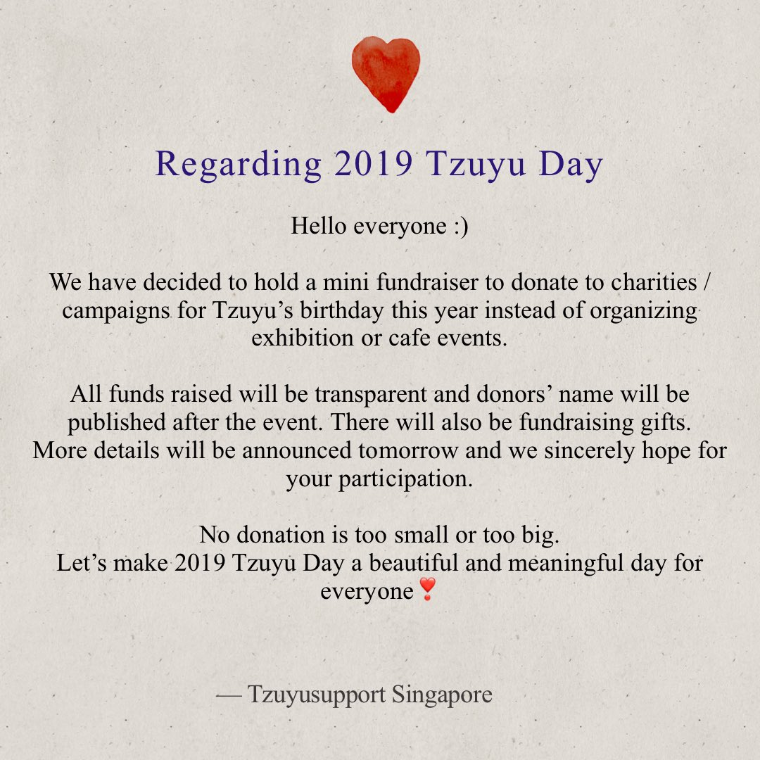 A Note From Tzuyusupport Singapore Regarding 2019 Tzuyu Day   #TZUYU #쯔위 #子瑜  #ツウィ #TZUYUSUPPORT #TWICE   #트와이스 <br>http://pic.twitter.com/JyFl47c1y1