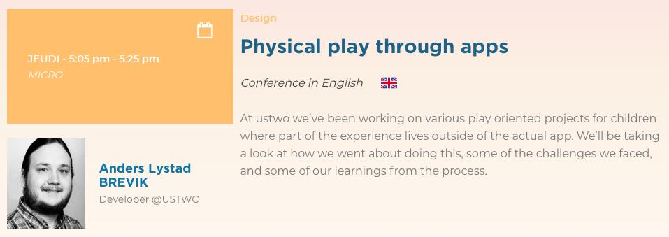 In two weeks Anders Lystad Brevik, Developer at ustwo, will share his insights about #physical #play through #apps at the @web2day festival.  Read more about his talk and get your tickets here!   https:// web2day.co/en/event/physi cal-play-through-apps-2/  … <br>http://pic.twitter.com/nvHzkDkdfX