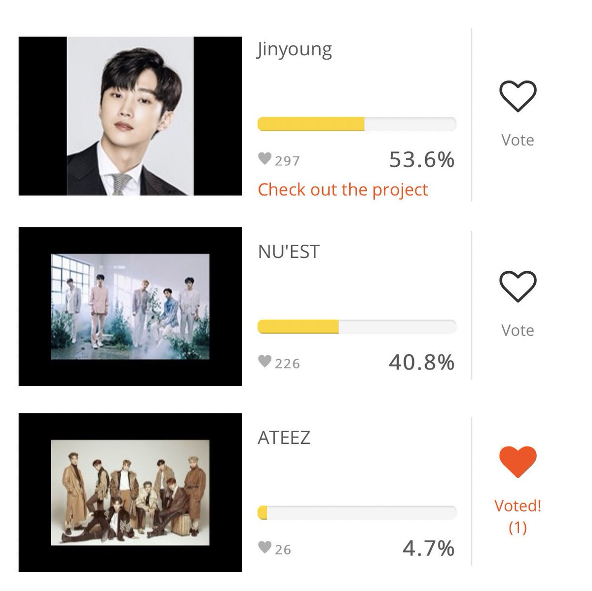 🚨ATTENTION ATINY🚨 💛STOP what you're doing and click the link to vote for ATEEZ! 💙 https://www.makestar.co/polls?locale=en  ❤️IF @ATEEZofficial win they will get their own cola commercial!  Please share it would make them so happy!