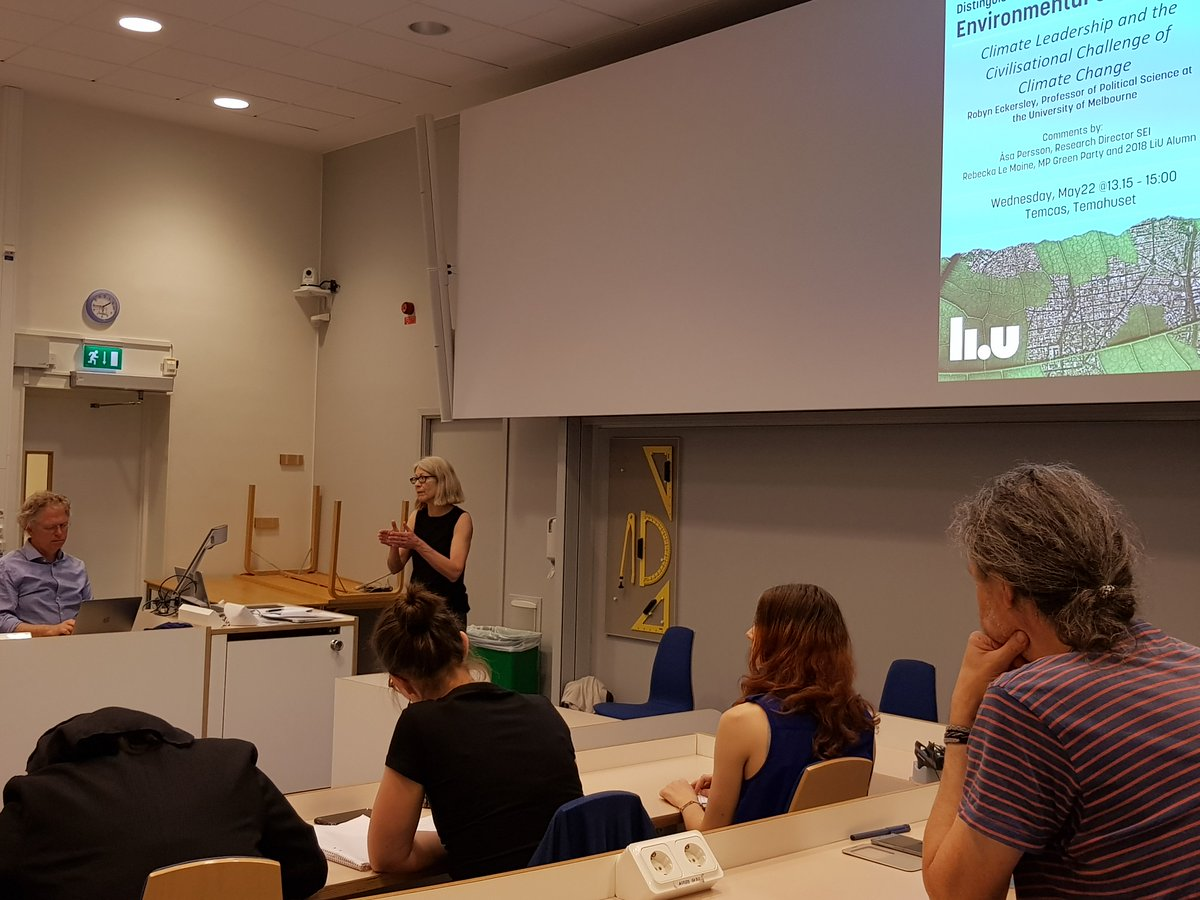 """""""What we need to solve the #climatecrisis is transformational leadership"""" conclusion by @EckersleyRobyn Prof Uni of Melbourne at her distinguished lecture @LiU_EnvChange. Thanks to commentators @Rebeckalemoine @Perssonasa for very interesting discussion #transformation"""