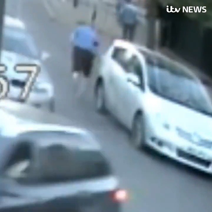 This is the shocking moment a driver chases an 80-year-old man, pushing him over and leaving him unconscious and with broken bones, after narrowly avoiding him as the pensioner crossed the road. @metpoliceuk are trying to trace the driver https://bit.ly/2VVvr4r