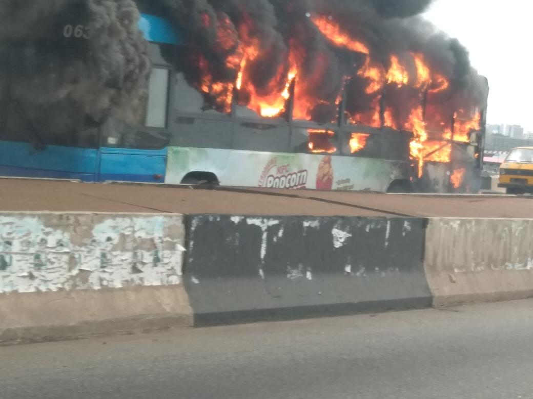 BRT bus catches fire on third mainland bridge