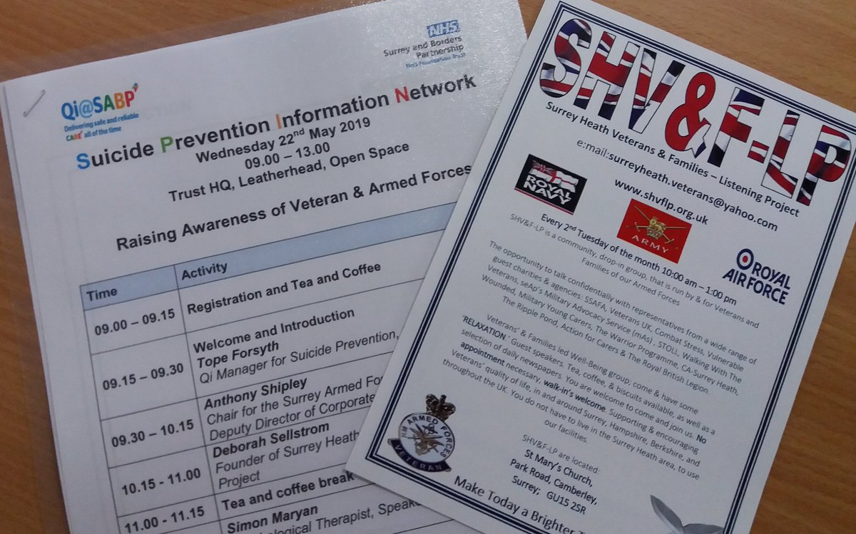 SHVFLP supporting @ QiSABP today Suicide Prevention lnformation Network - Raising Awareness of Veteran & Armed Forces today. @SabpCollege @DebbieHustings @SABPResearch @sabpNHS #VeteranSuicidePrevention #OneLoveManchester @KatieMagnet @Madalenashair @vulcan_612 @BrokenByWar