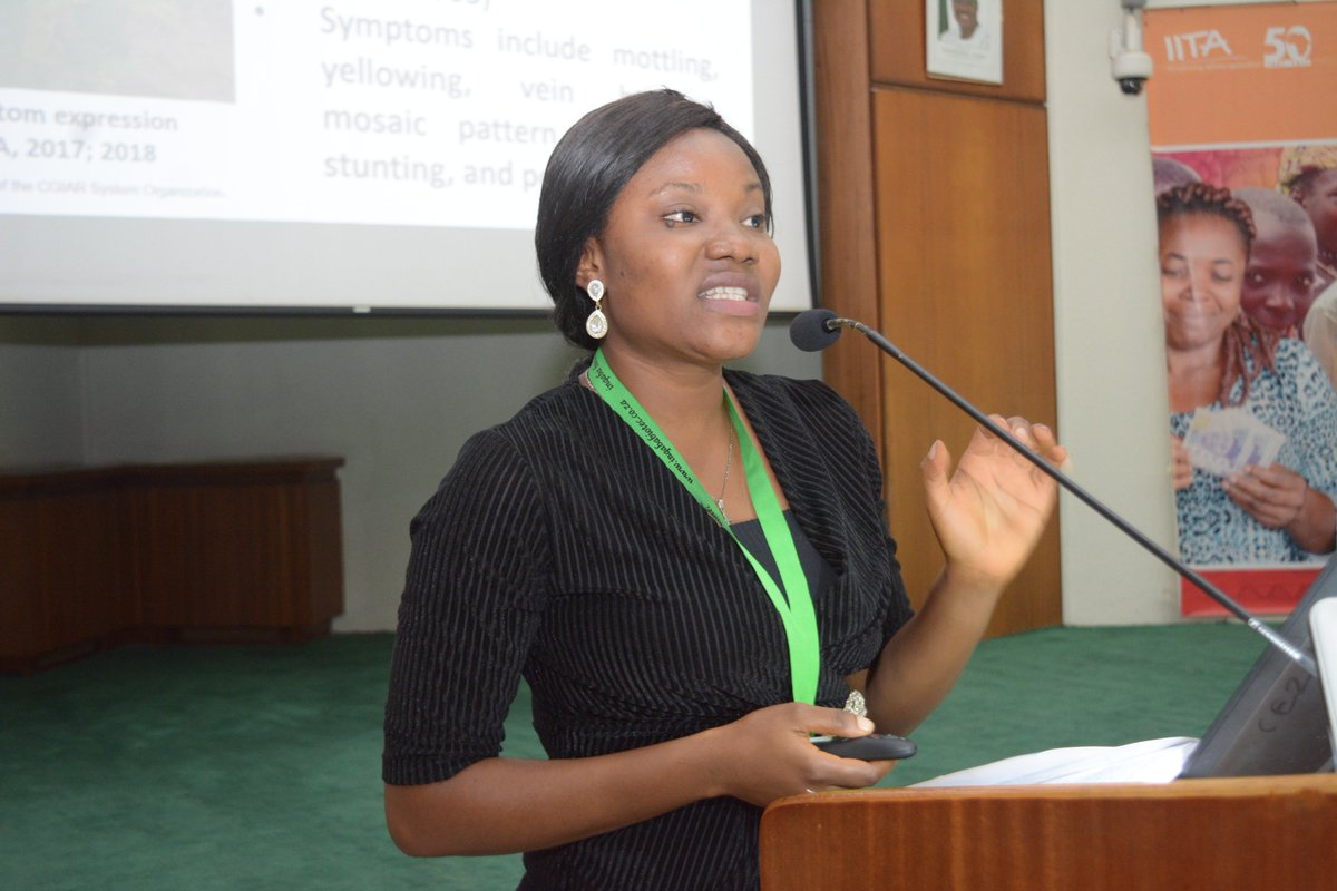Continuation of 2nd Technical session: Oral/poster presentation on plant production and plant health. Topic: Genotype and growth stage effects on yam mosaic virus (YMV) titer in yam (Dioscorea rotundata Poir.) by Ruth. O Festus #IARSAF2019 symposium https://t.co/05gJKjY22M