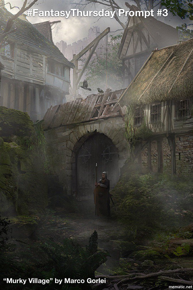 """Well, #FantasyThursday didn't catch on like I had hoped. Never mind ~sigh~.  But, one last time, because this art, """"Murky Village"""" by Marco Gorlei, is beautiful and evocative.  So, the #prompt is this picture.  @writevent @PromptList @PromptAttn @PromptAdvant #Prompt #AmWriting"""