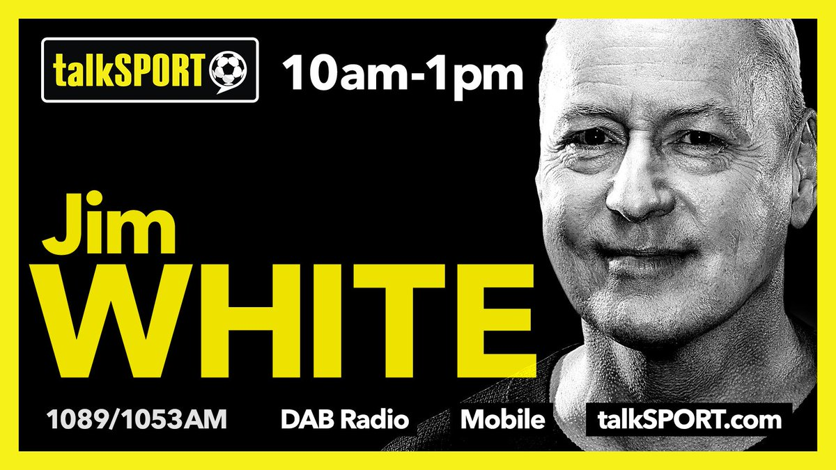 NOW: Jim White  With @SJOpinion10  Coming up:  🔘 Transfer prices damaging football?  🔘 Mkhitaryan to miss #UEL final 🔘 @AdamLeventhal and Matthew Briggs join us.   📱 Tweet → @JimWhite 📻 Listen → http://tlks.pt/ListenLive