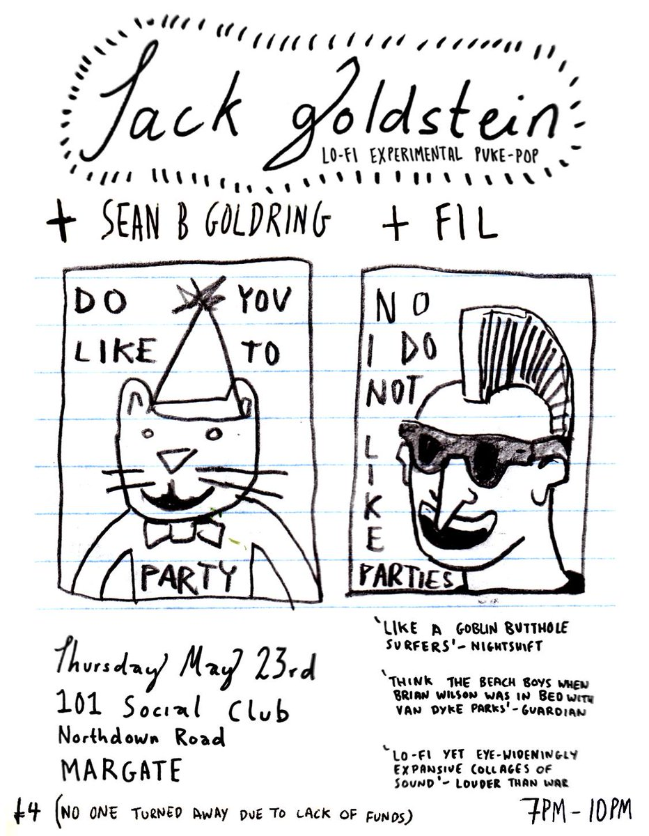 Make sure you don't miss this tomorrow! Jack Goldstein's Lo-Fi Experimental Puke-Pop with Sean Bekker Goldring and FIL Filipe Gomes. Doors 7pm. Suggested £4 [no one turned away due to lack of funds] #101socialclub