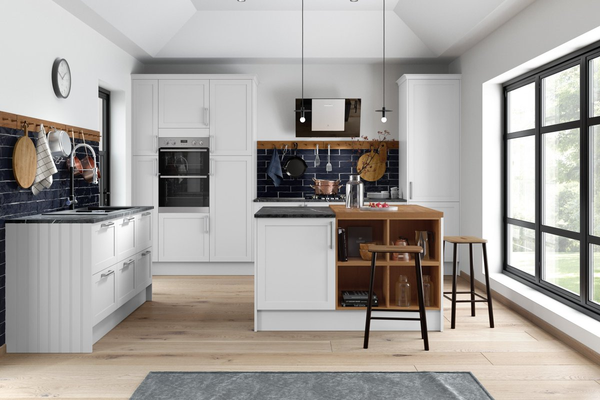 All about industrial 👏 From fresh white cabinets to matt black pendant lamps and contrasting tiles, we can't get enough of this ultra contemporary trend. #Contemporary #Kitchen