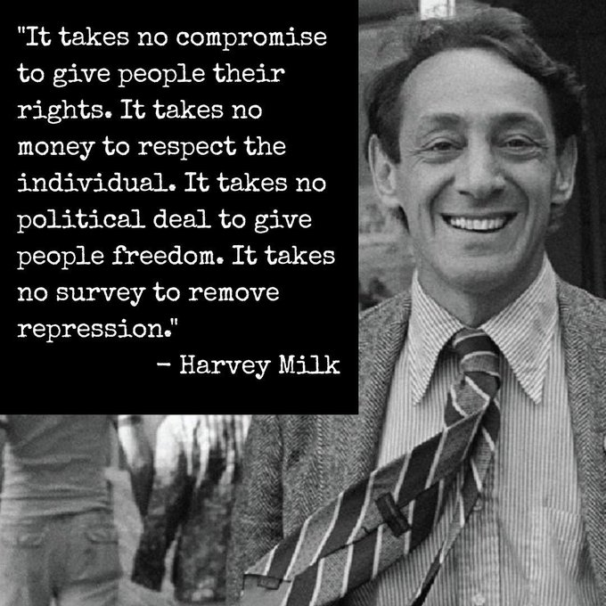 Remembering the legend and hero, Harvey Milk, on what would ve been his 89th birthday today. Happy Birthday Harvey!